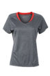 Ladies Running T Shirt James & Nicholson - black melange tomato