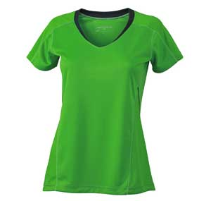 Ladies Running TShirt James Nicholson - green/iron grey