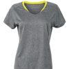 Ladies Running T Shirt James & Nicholson - grey melange lemon