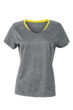 Ladies Running T Shirt James & Nicholson - grey melange lemon