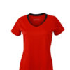 Ladies Running T Shirt James & Nicholson - tomato black