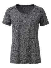 Ladies Sports T Shirt James & Nicholson - black melange black