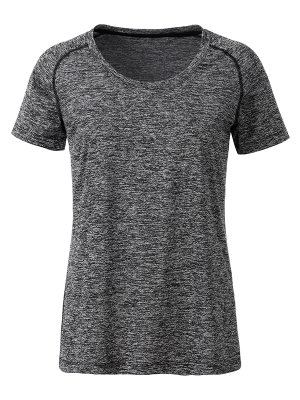Ladies Sports T Shirt James & Nicholson - black melange black