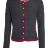 Ladies Traditional Knitted Jacket James & Nicholson - anthracite melange red red