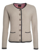 Ladies Traditional Knitted Jacket James & Nicholson - beige anthracite melange red