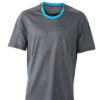 Mens Running T Shirt James & Nicholson - black melange atlantic