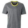 Mens Running T Shirt James & Nicholson - grey melange lemon
