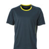 Mens Running T Shirt James & Nicholson - iron grey lemon