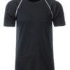 Mens Sport T Shirt James & Nicholson - black white