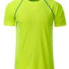 Mens Sport T Shirt James & Nicholson - bright yellow bright blue