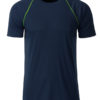 Mens Sport T Shirt James & Nicholson - navy brigt yellow