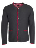 Mens Traditional Knitted Jacket James & Nicholson - anthracite melange red red