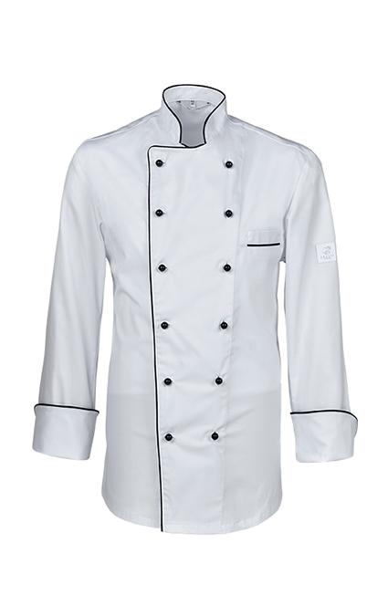 Greiff Kochjacke mit Paspelierung - weiß schwarz