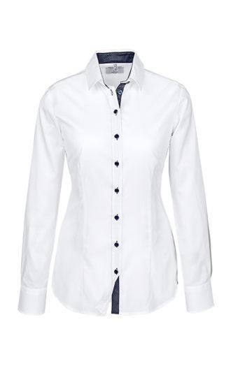 Greiff Modern 37 5 Damen Regular Fit Bluse - weiß kontrast blau