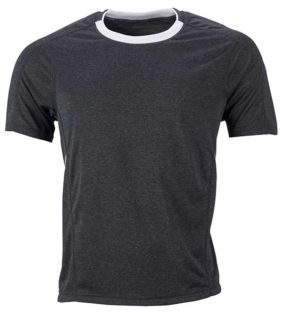 Mens Running T Shirt James & Nicholson - black melange white