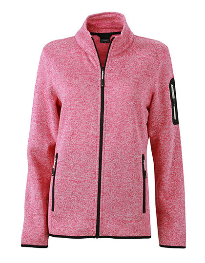 Ladies Knitted Fleece Jacket James & Nicholson - pink melange offwhite