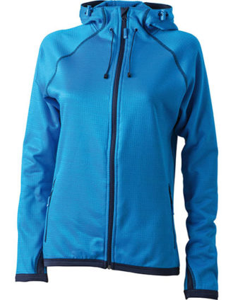 Ladies Hooded Fleece James & Nicholson - aqua navy