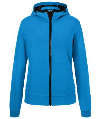 Ladies Hooded Softshell Jacket James & Nicholson - blue black