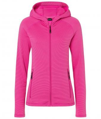 Ladies Hooded Stretchfleece Jacket James & Nicholson - pink magenta