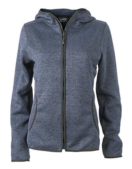 Ladies Knitted Fleece Hoody James & Nicholson - denim melange black