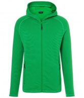 Mens Hooded Stretchfleece Jacket James & Nicholson - ferngreen carbon