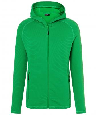 Mens Hooded Stretchfleece Jacket James & Nicholson - ferngreen carbon