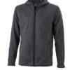 Mens Knitted Fleece Hoody James & Nicholson - dark melange black