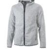 Mens Knitted Fleece Hoody James & Nicholson - light melange carbon