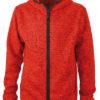Mens Knitted Fleece Hoody James & Nicholson - red melange black