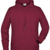 Men's Bio Hoody James & Nicholson - burgundy melange