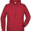Men's Bio Hoody James & Nicholson - carmine red melange