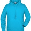 Men's Bio Hoody James & Nicholson - turquoise