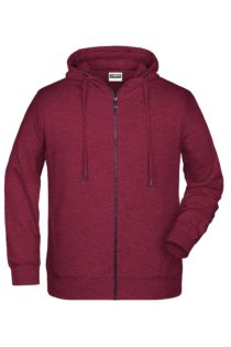 Men's Bio Zip Hoody James & Nicholson - burgundy melange