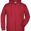 Men's Bio Zip Hoody James & Nicholson - carmine red melange