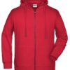 Men's Bio Zip Hoody James & Nicholson - red