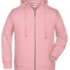 Men's Bio Zip Hoody James & Nicholson - rose melange