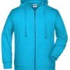 Men's Bio Zip Hoody James & Nicholson - turquoise