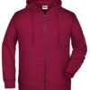 Men's Bio Zip Hoody James & Nicholson - wine