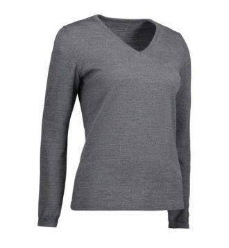 Identity V-Neck Damen Pullover - grau meliert