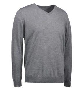 Identity V-Neck Pullover - grau meliert