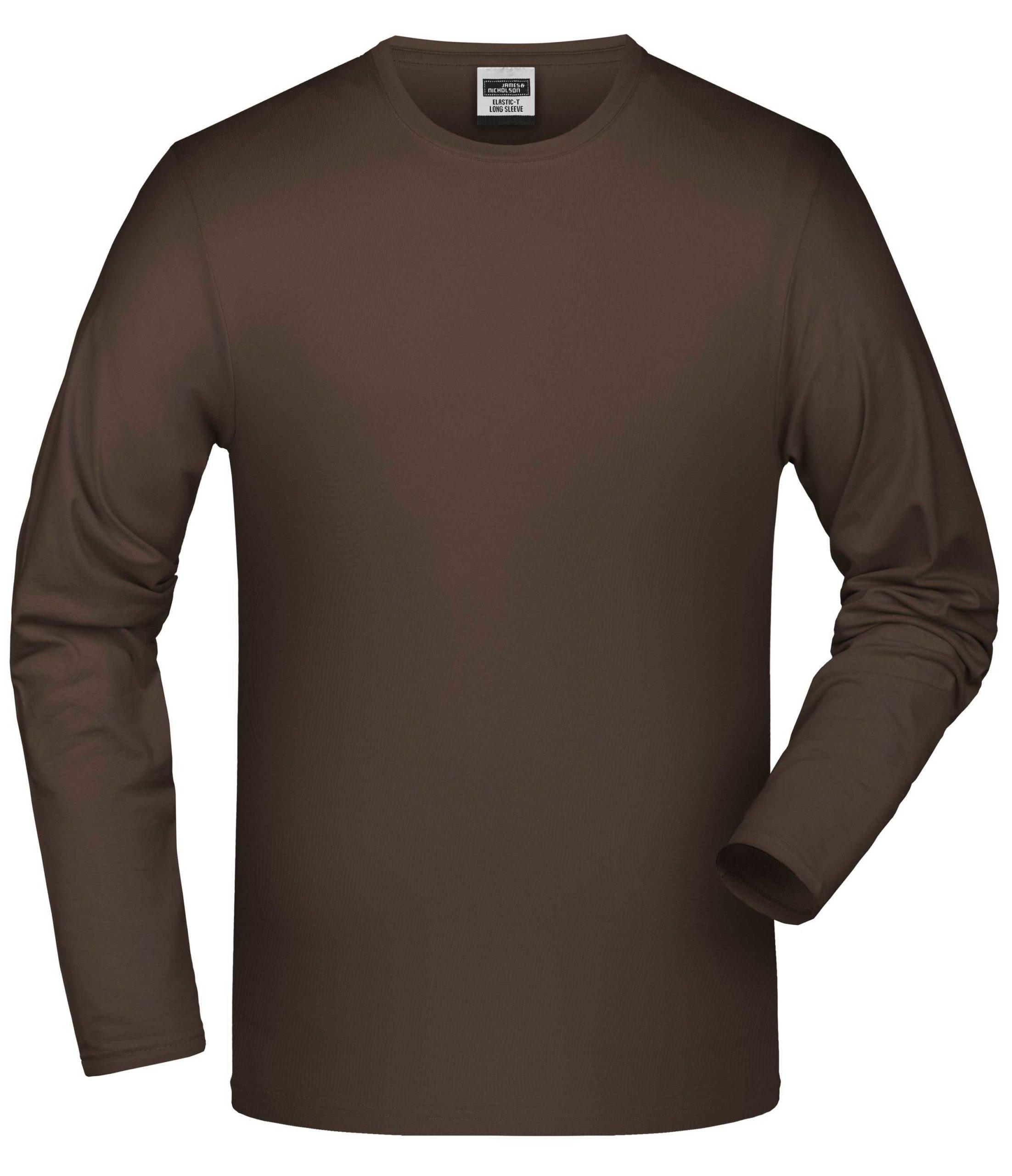 Elastic-T Long-Sleeved James & Nicholson JN056 - brown