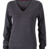 Ladies' V-Neck Pullover James & Nicholson - anthracite melange