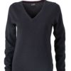 Ladies' V-Neck Pullover James & Nicholson - black