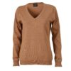 Ladies' V-Neck Pullover James & Nicholson - camel
