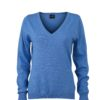 Ladies' V-Neck Pullover James & Nicholson - glacier blue