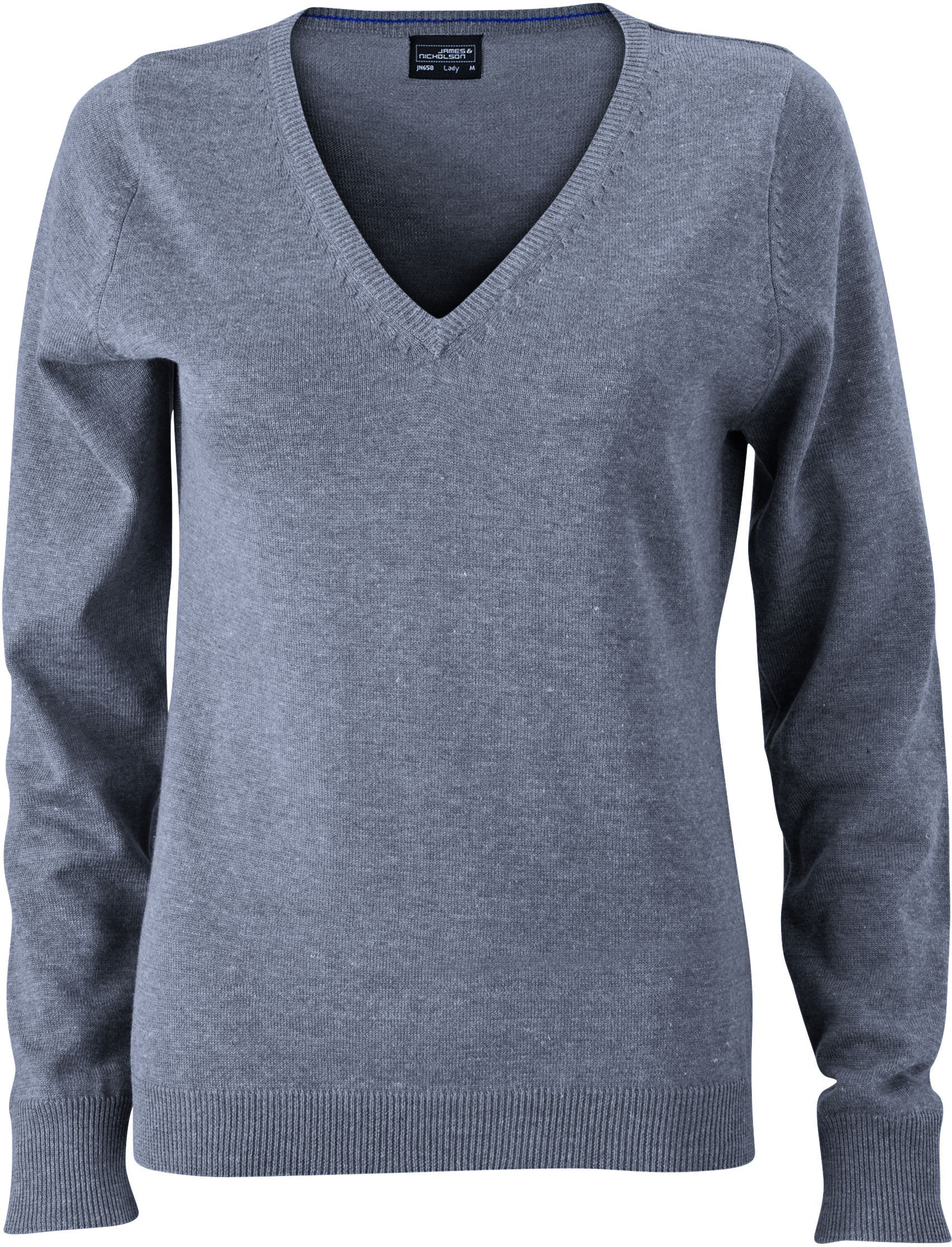 Ladies' V-Neck Pullover James & Nicholson - grey heather