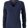 Ladies' V-Neck Pullover James & Nicholson - navy