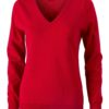 Ladies' V-Neck Pullover James & Nicholson - red