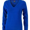 Ladies' V-Neck Pullover James & Nicholson - royal