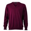 Men's V-Neck Pullover James & Nicholson - bordeaux
